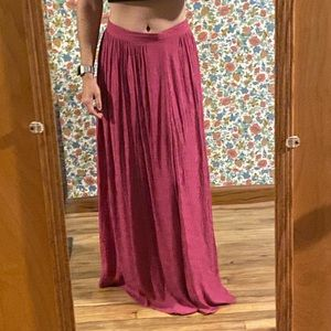 Pink Anthropologie Silky Boho Print Maxi Skirt